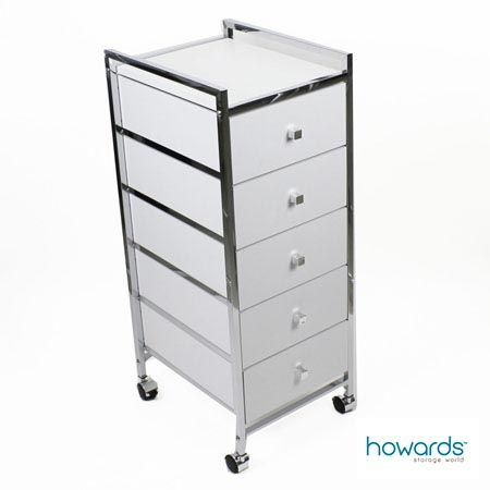 the white 5 drawer cabinet trolley is sleek and modern it has 5 drawers and wheels for mobility. Black Bedroom Furniture Sets. Home Design Ideas