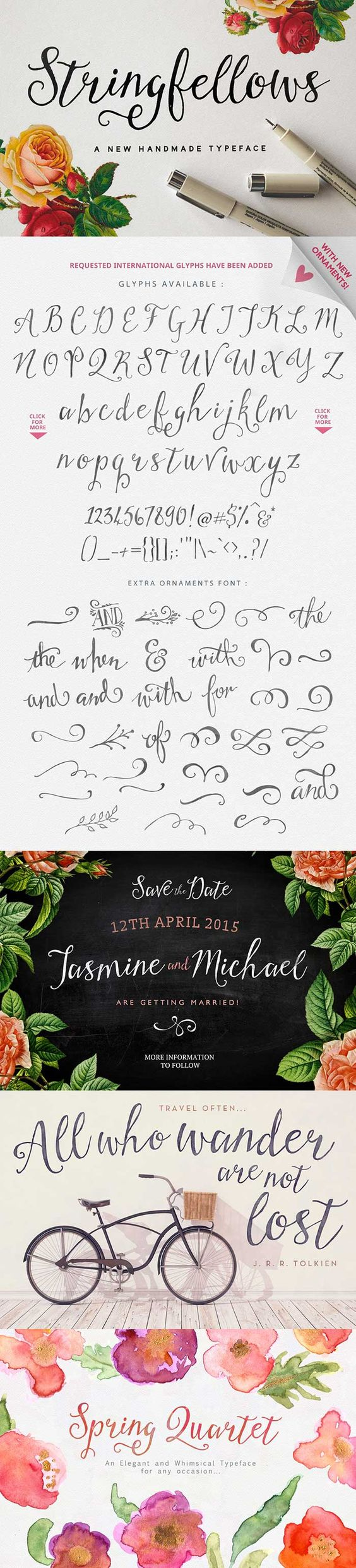 Stringfellows: a gorgeous hand-written script font part of the 30 fonts for $39 bundle!