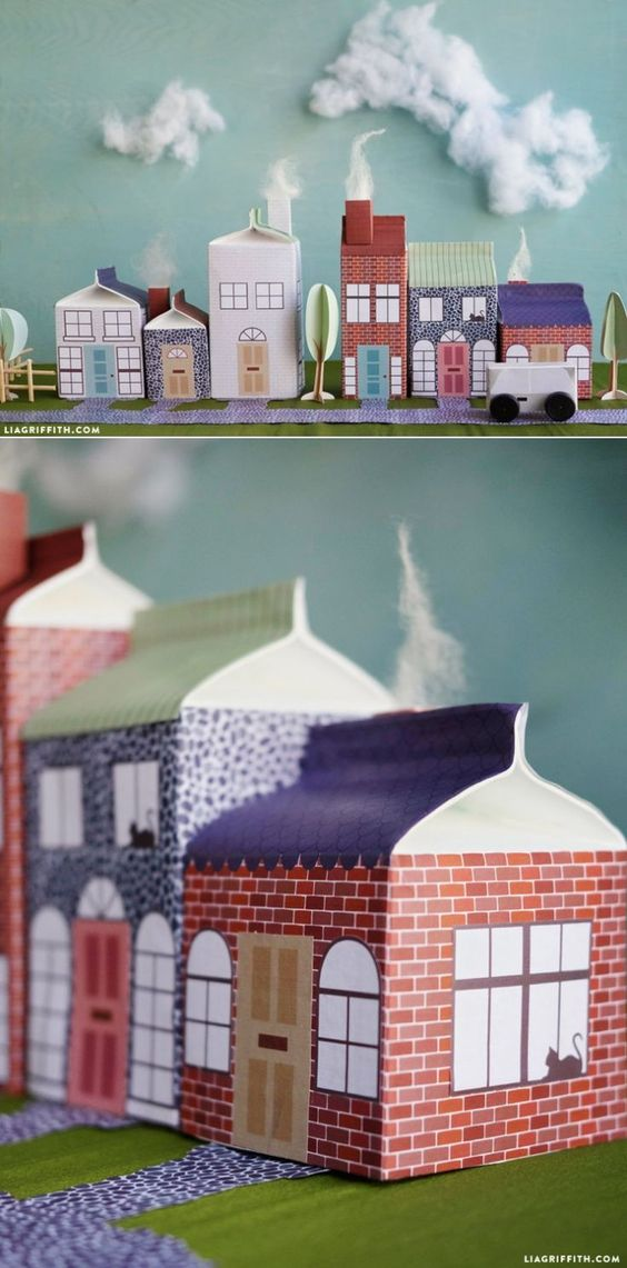 #CartonVillage #ChooseCarton #KidsCraft #Upcycle http://www.LiaGriffith.com: