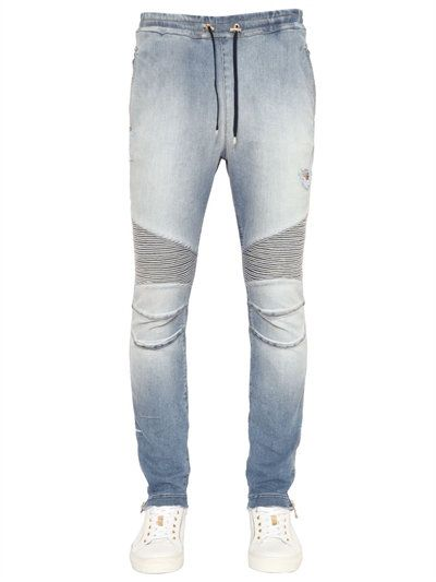 BALMAIN BIKER COTTON JERSEY SWEATPANTS, SKY BLUE. #balmain #cloth #pants