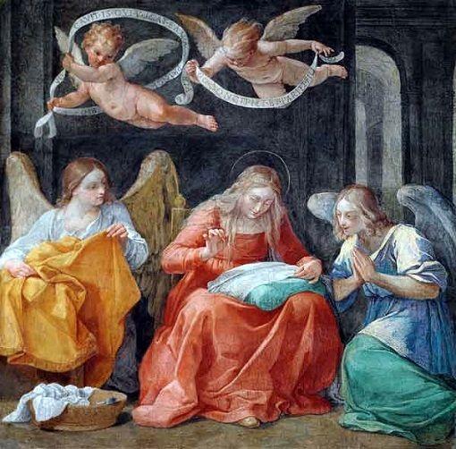 Resultado de imagen de virgen cosiendo