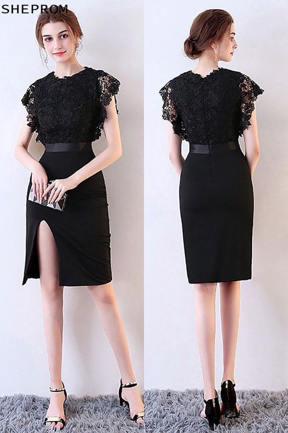 Only 79 Sexy Fitted Side Slit Black Party Dress with Lace MXL86015 at SheProm SheProm is an online store with thousands of dresses range from CocktailPartyWedding GuestBlackLittle Black DressesShort Dresses and so on Not only selling formal dresses more and more trendy dress styles will be updated daily to our store With low price and high quality guaranteed you will definitely like shopping from us Shop now to get 5 off