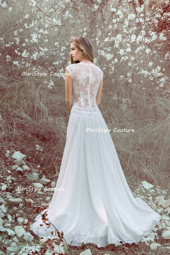 Offer for April! Designer Wedding Gown Bohemian Wedding Dress Lace Back dress from chiffon Made to order