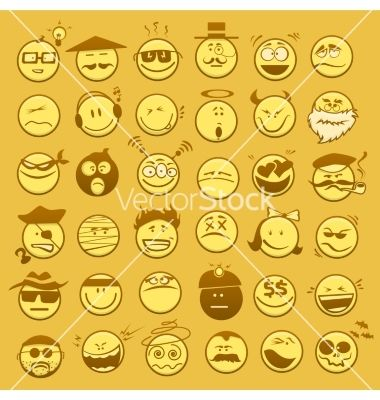 Set of emoticons vector by talashow on VectorStock®