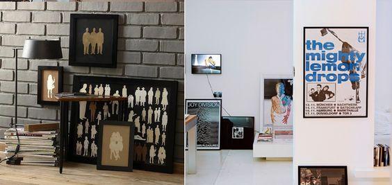 Chão: solução imediata! Posteres de bandas, cartazes de filmes, ou mesmo quadros pintados: deixe os maiores encostados no chão.