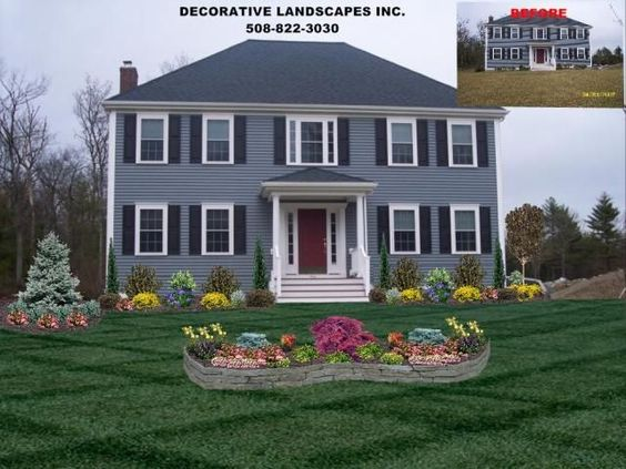 Colonial home front yard landscape design attleboro ma for Colonial landscape design