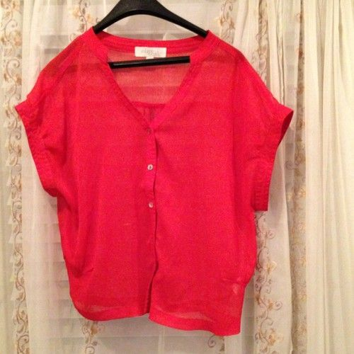 $19.99 Free Shipping Olive & Oak Red Sheer Blouse Top Button Front Dolman Sleeves Tag Sz M