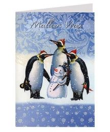 French Snowman and Pengunis Christmas Card ~ Germany
