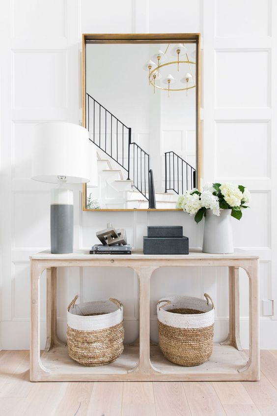Modern coastal decor in the entryway from Studio McGee