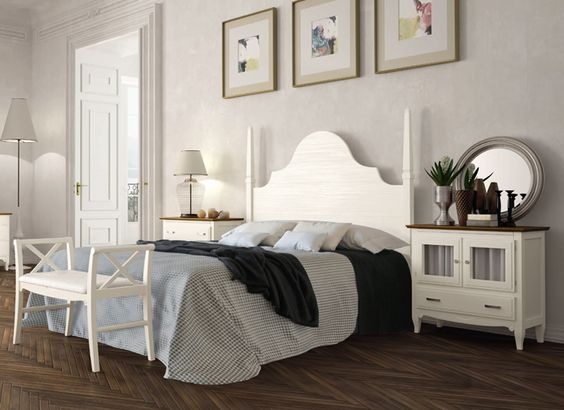 Conjunto dormitorio matrimonio de estilo cl sico con for Dormitorio matrimonio estilo nordico