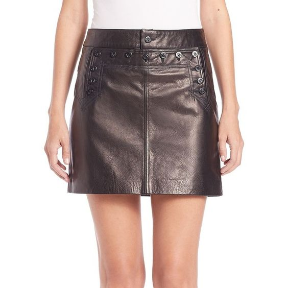 Polo Ralph Lauren Leather Mini Skirt ($250) ❤ liked on Polyvore featuring skirts, mini skirts, apparel & accessories, polo black, polo ralph lauren, leather a line skirt, sailor skirt, leather mini skirt and mini skirt