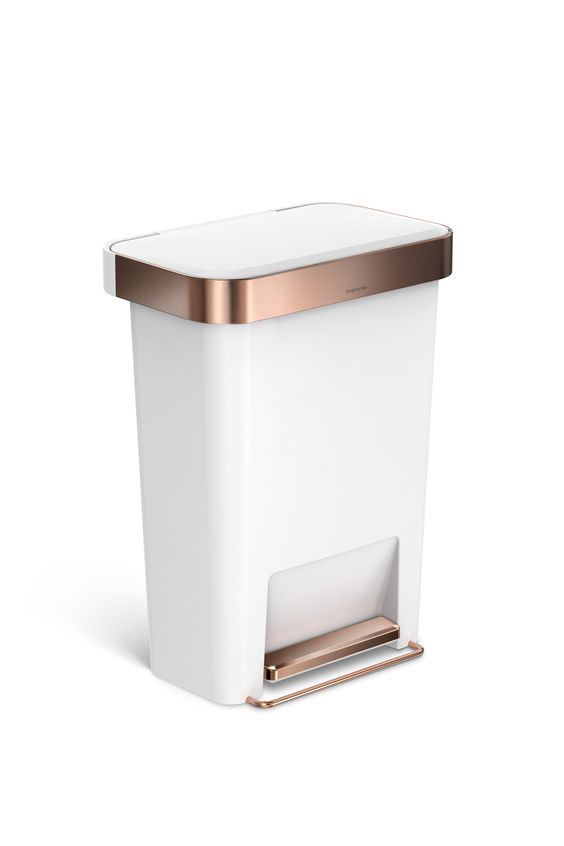 Rosegold simplehuman trashcan new simple rose gold for Gold bathroom wastebasket