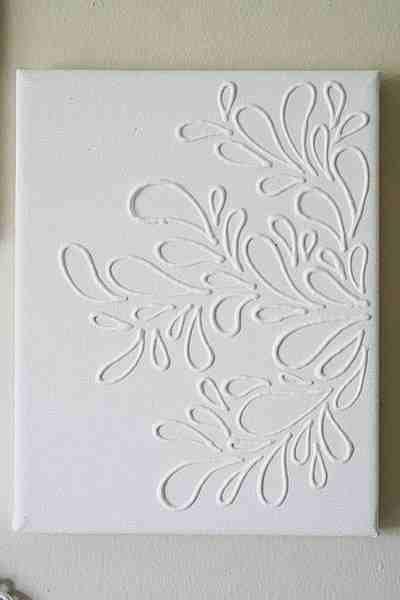 Hot glue, canvas, white paint