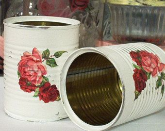 2 small cottage white shabby chic tin cans victorian rose swags upcycled recycled repurposed salvaged metal red pink green leaves: