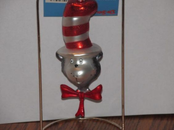 NEW! Dr Seuss Cat in the Hat Blown Glass Christmas Ornament!