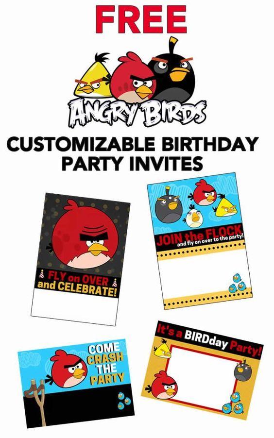 Free Printable Angry Birds Invitations Angry Birds Party Bird Invitation Bird Birthday Invitations