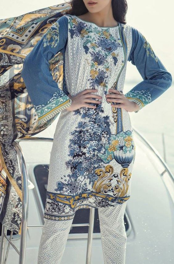 Buy Light Grey Embroidered Cotton Lawn Dress by Maria B 2016