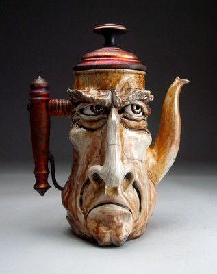 Unhappy Teapot Face Jug pottery folk art raku sculpture by Grafton: