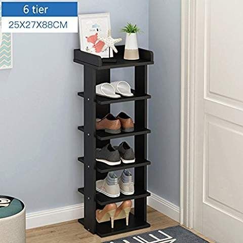 Black Wooden Tall Shoe Stand 6 To 8 Tier Stackable Storage Organizer For Bedroom Hallway Balcony 2527104cm Si Adjustable Shelving Shoe Rack Shelf Organization
