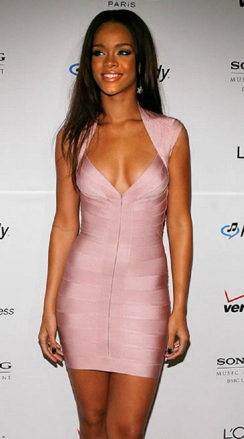 Soft Summer Deep Rihanna in light pink cap sleeve bandage dress ...