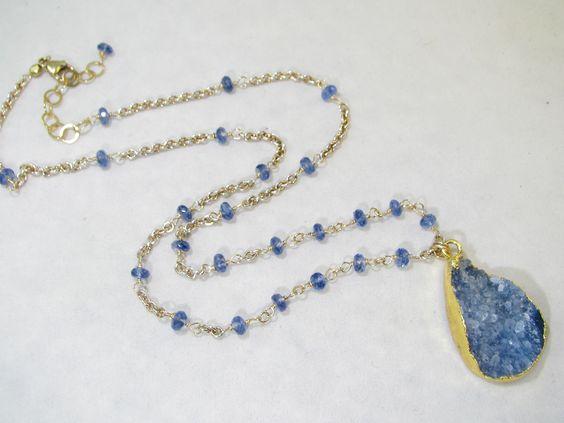 Blue Kyanite, blue drusy stone  Oie Jewelry