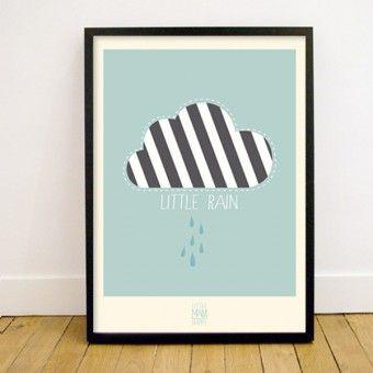 Little Man Happy Little Rain Poster (50x70 cm)