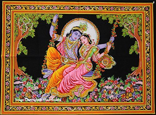 Hippie Lord Krishna God of Love Tapestry Ethnic Indian Wall Hanging Throw Boho