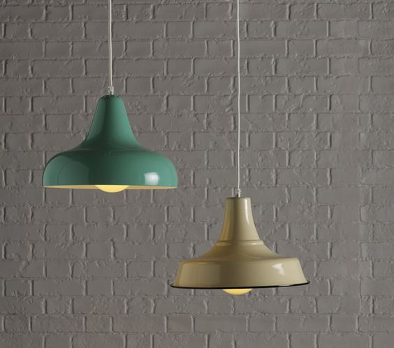 An exclusive Habitat design, this retro style Aerial green metal pendant light is made from spun aluminium with a high gloss finish. The ceiling light has an easy wipe surface making it a great option for the kitchen. The fabric covered cable is height adjustable, allowing the light to cast a spot on a specific task, or to create mood lighting for dinner.  A classic style cream Emmanuelle metal pendant light in traditional enamelled steel. The light is ideal for the kitchen.