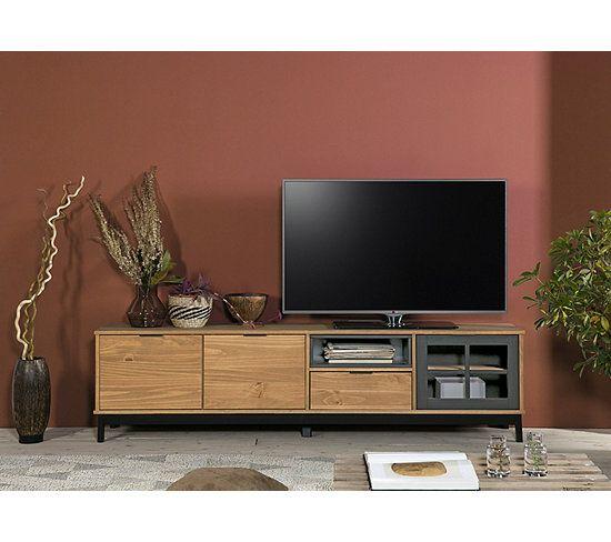 Meuble Tv Style Atelier Bronx 3 Portes 1 Tiroir Bois Massif Et Noir Meuble Tv But En 2020 Meuble Tv Et Table Basse Tiroir Bois Meuble Tv
