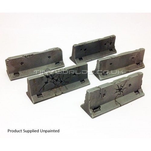 Concrete Jersey Barriers - Set of 5 - Damaged