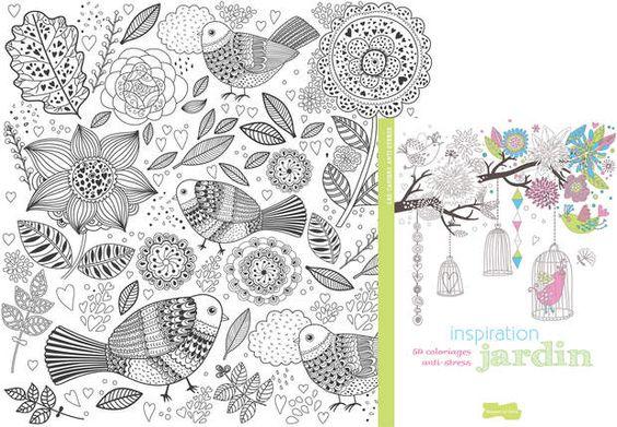 """Coloriage """"Inspiration Jardins""""Coloriage extrait de l'ouvrage 50 coloriages anti-stress """"Inspiration Jardins"""" paru aux Editions Dessain et Tolra. T"""