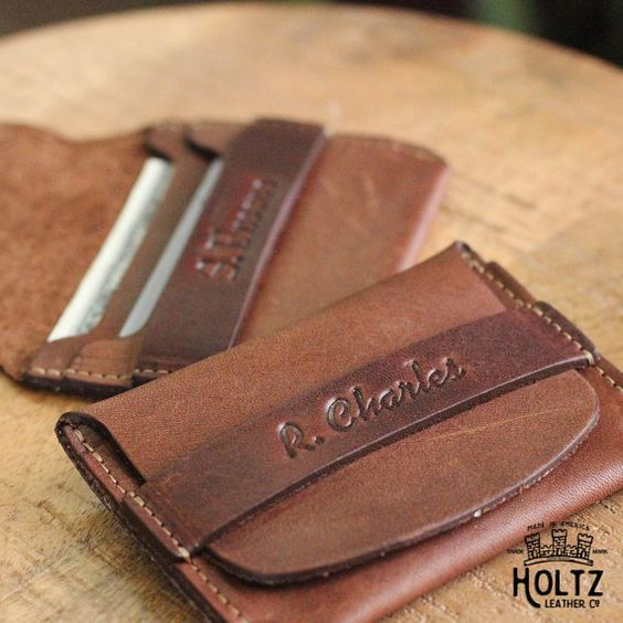 personalized front pocket leather wallet