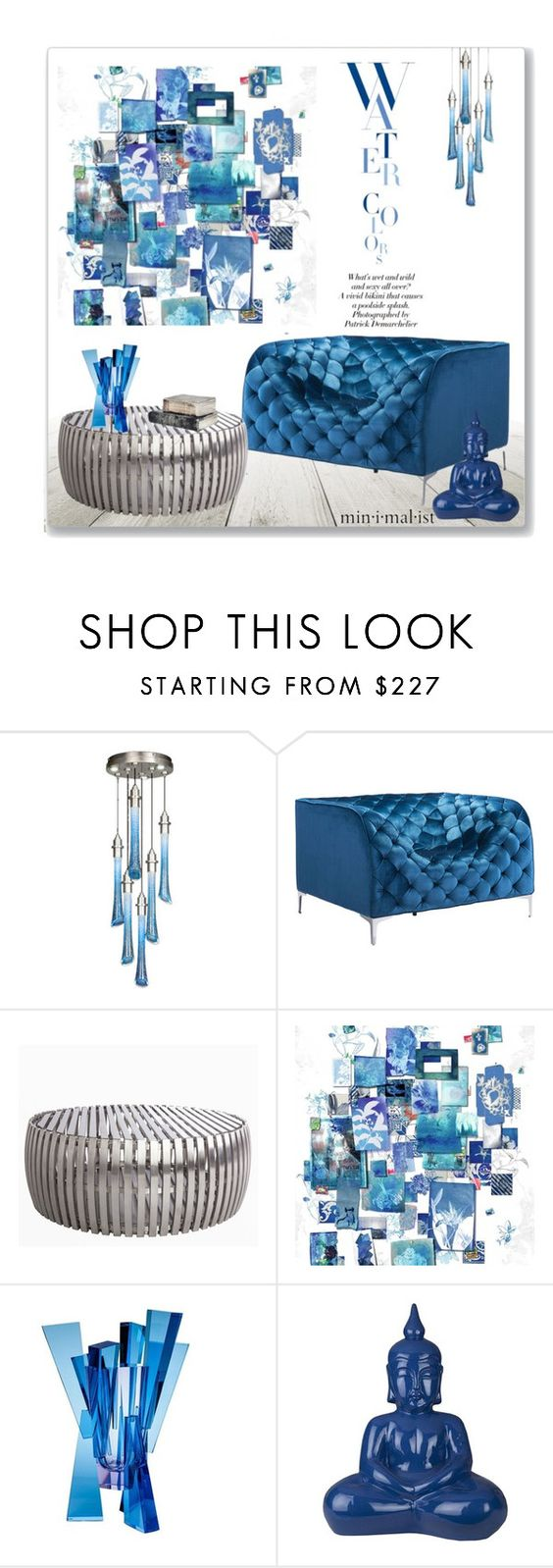 """""""Water Colour"""" by leanne-mcclean ❤ liked on Polyvore featuring interior, interiors, interior design, home, home decor, interior decorating, KAROLINA, Fine Art Lamps, WALL and Moser"""