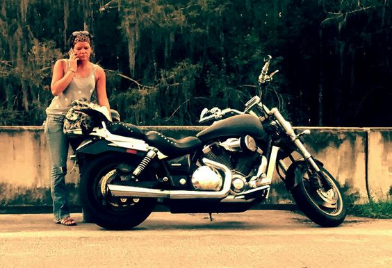 My wife by the bike