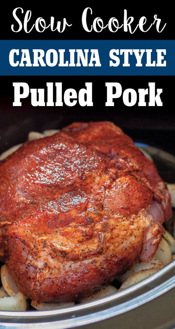 Easy Carolina Style Slow Cooker Pulled Pork by Plating Pixels. Rich ...