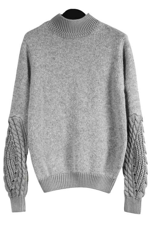 Gray Stand Neck Long Sleeve Jumper