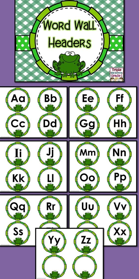$1 These adorable word wall headers will be perfect in your frog themed classroom or if you just like frogs!  Simply print, laminate, cut and display! You may wish to staple them to a bulletin board or use a ribbon underneath to hang words with a clip so that the word wall will be interactive!