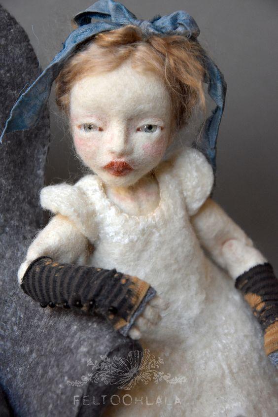 Pretty Alice   needle felted art doll by FELTOOHLALA