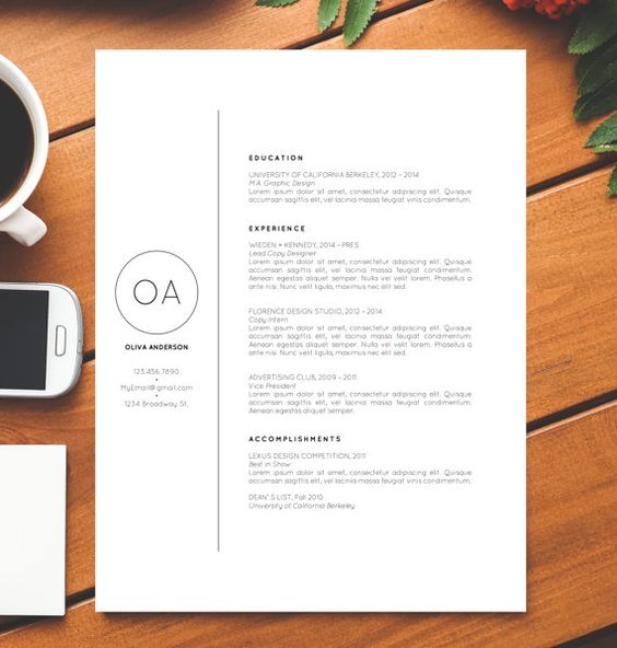 Creative Professional Resume Template / CV Template + Cover Letter for MS Word | Minimalist | Instant Digital Download | Mac + PC | Olivia