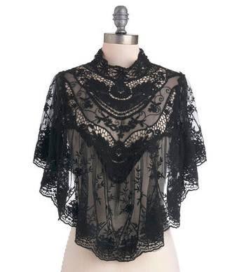Victorian black lace cape poncho ~ LOVE & want! :-):