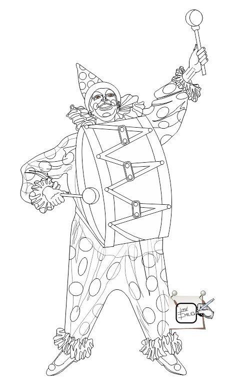 PALHAÇO - ESBOÇO - Começando a desenhar o palhaço que vai fazer parte de algumas ilustrações minhas, até o final do ano e, quem sabe? Até começo do ano novo-2015. Espero que possam apreciar as etapas que vou postar com várias ilustrações, tendo como uma única figura como a central. Arte é arte. = Esboço e preto e branco. Desenho - Ilustração - Illustration - Drawing