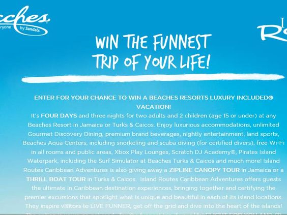 Enter the Neff Funnest Trip of Your Life Sweepstakes for a chance to win a 4-day/3-night trip for four to either Turks & Caicos or Jamaica!