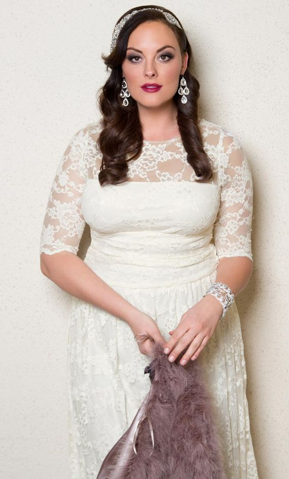 Glam up our plus size lace illusion wedding dress with for Plus size illusion wedding dress