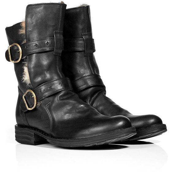 FIORENTINI & BAKER Black Fur Lined Boots ($660) ❤ liked on Polyvore featuring shoes, boots, cold weather shoes, ankle tie shoes, chunky heel shoes, fur lined boots and round toe boots