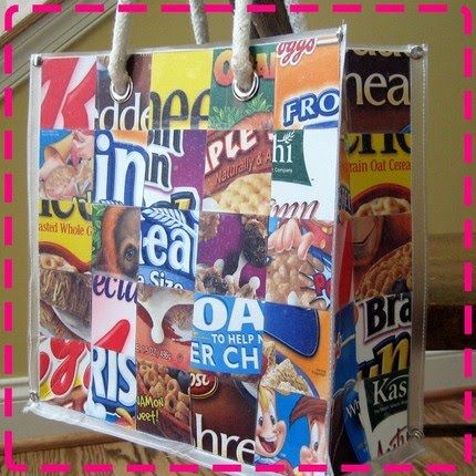 From Cereal box to cool bag. Use as a gift bag too.