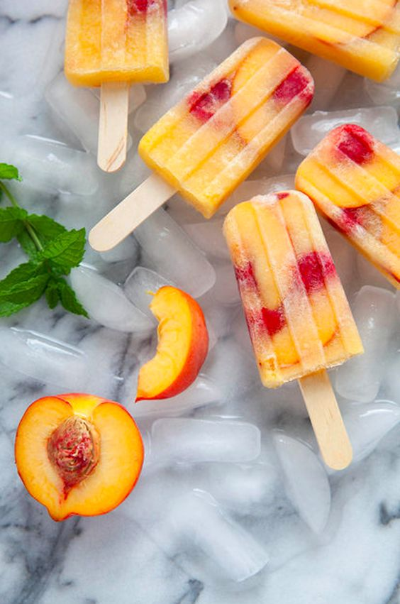 Peach Sangria popsicles to cool you down and get you turnt