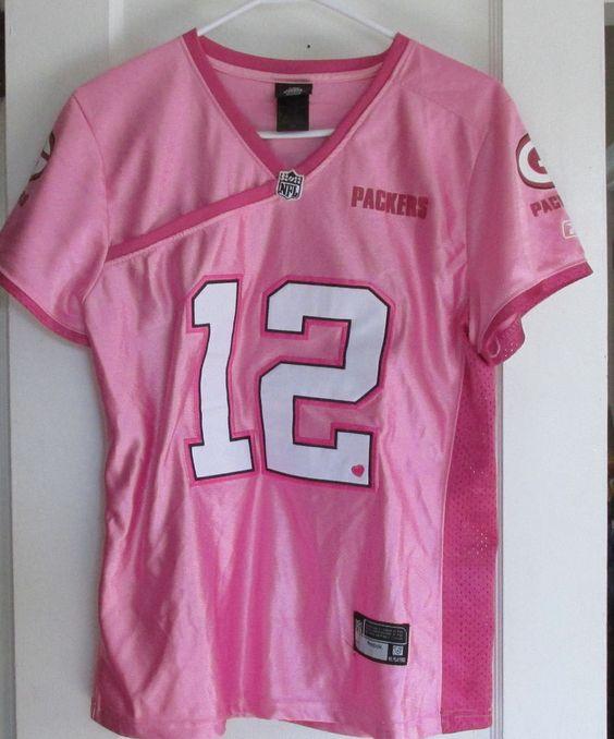 Women's Pink Aaron Rogers Green Bay Packers Jersey Reebok Adult L NFL #GreenBayPackers
