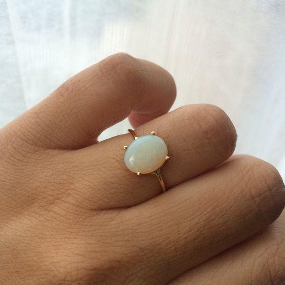Opal Ring, Opal Engagement Ring, 14k Opal Ring, Opal Solitaire Ring, Non Traditional Engagement Ring, October Birthstone, Birthstone Ring von charlieandmarcelle auf Etsy https://www.etsy.com/de/listing/206303158/opal-ring-opal-engagement-ring-14k-opal