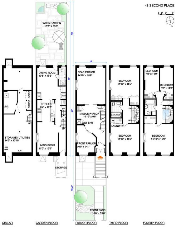 Carroll o 39 connor classic and gardens on pinterest for Brownstone townhouse plans