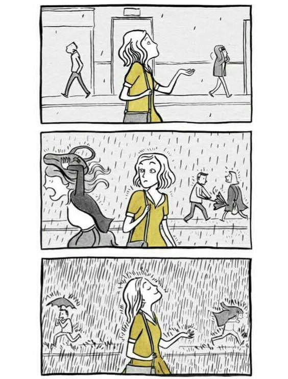 Disfrutar la lluvia.
